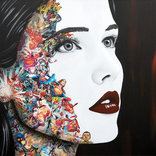 Mask Off Collage and Acrylic on canvas 100 x 100 cm Galerie Artfusion